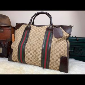 GUCCI Large Travel GG Stripe Duffle Bag Carry On